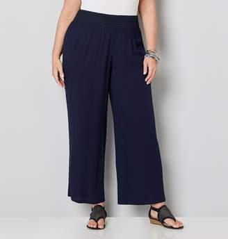 Avenue Plus Size Crinkle Gauze Wide Leg Pants