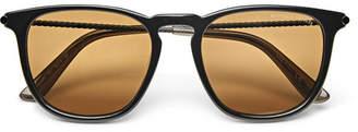 Bottega Veneta Round-Frame Engraved Titanium Sunglasses - Silver