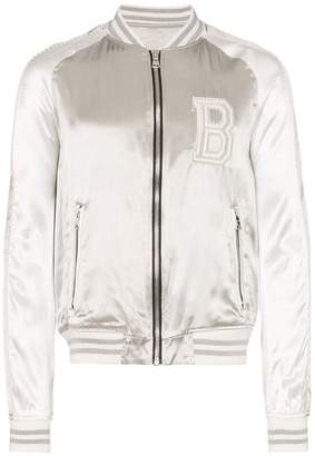 Balmain logo embroidered bomber jacket