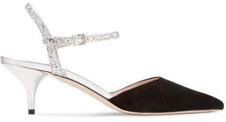 Miu Miu Suede And Glittered Leather Pumps - Black