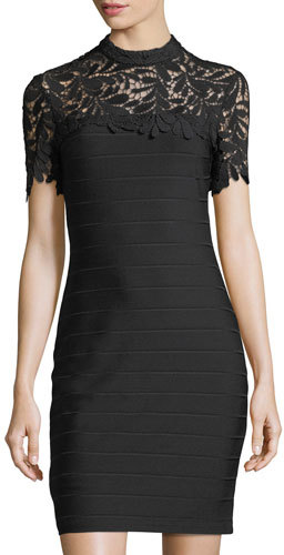 Bebe Lace-Yoke Body-Con Dress