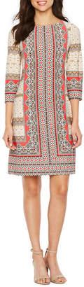 LONDON STYLE 3/4 Sleeve Pattern Shift Dress