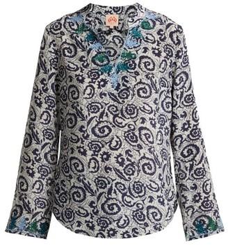 Le Sirenuse Le Sirenuse, Positano - Milana Suzani Print Cotton Blouse - Womens - Blue Multi