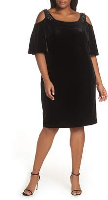 Alex Evenings Velvet Cold Shoulder Sheath Dress