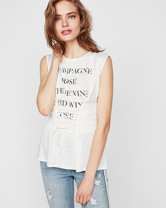Express Drinks List Graphic Corset Tank