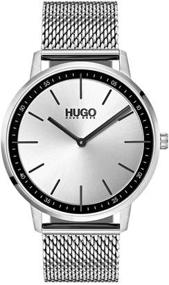 HUGO BOSS HUGO Men's #Exist Ultra Slim Stainless Steel Mesh Bracelet Watch 40mm