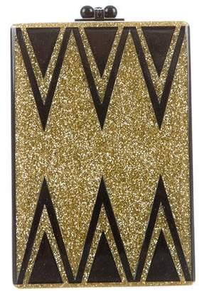 Edie Parker Striped Glitter Clutch