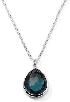 Ippolita Wonderland Silver Mini Teardrop Necklace in London Blue Topaz