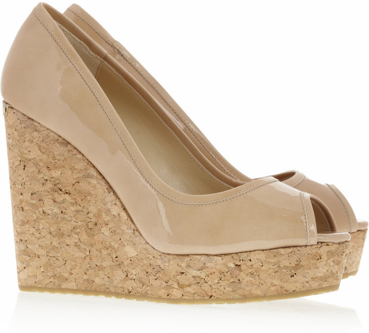 Jimmy Choo Papina patent-leather and cork wedges