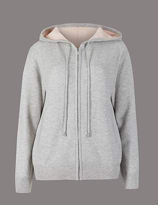 Marks and Spencer Pure Cashmere Zipped Through Hooded Jumper