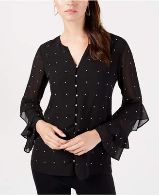 Alfani Embellished Ruffled-Sleeve Blouse