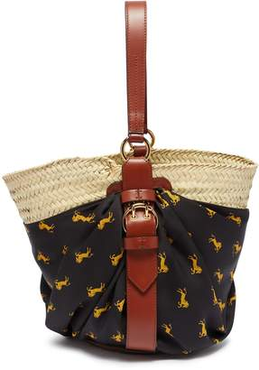 Chloé 'Panier' horse print scarf panel medium raffia basket bag