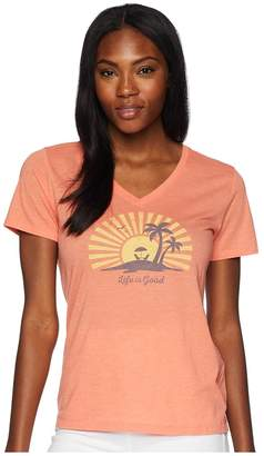 Life is Good Sunset Chill Cool Vee Tee Women's T Shirt