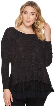Karen Kane Plus Plus Size Lace Sparkle Top Women's Clothing