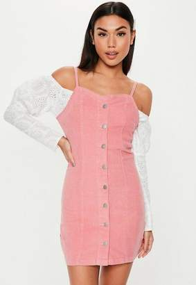 Missguided Pink Button Through Cord Mini Dress