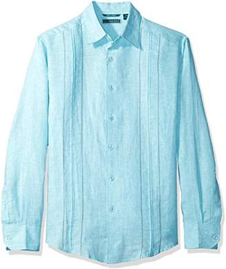 Cubavera Men's Long Sleeve 100% Linen Shirt with Box Pleat Tucking and Eyelets