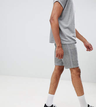 Asos DESIGN Tall slim shorts in monochrome check with side taping