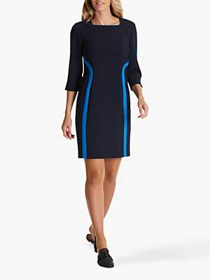 Betty Barclay Stripe Detail Square Neck Jersey Dress, Dark Sapphire/Royal Blue