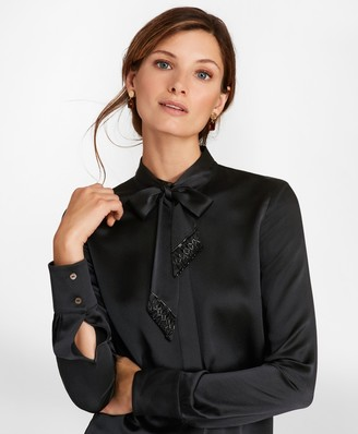 Brooks Brothers Beaded Bow-Neck Silk-Satin Blouse