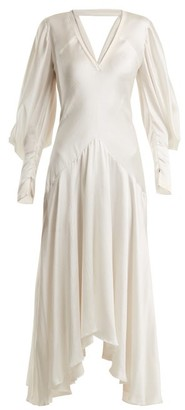 Roksanda Zenku Asymmetric Hem Silk Dress - Womens - Ivory