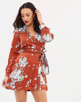 Missguided Floral Tie Waist Kimono Mini Dress