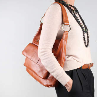 The Leather Store Sutton Leather Shoulder Bag With Pocket, Tan
