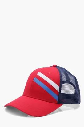boohoo Sports Stripe Mesh Trucker Cap