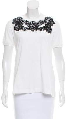 Dolce & Gabbana Lace-Trimmed Crew Neck T-Shirt