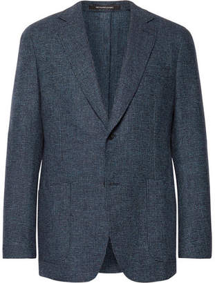 Richard James Blue Micro-Checked Wool And Cashmere-Blend Blazer