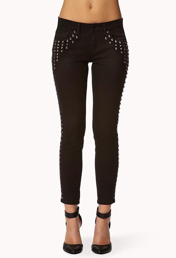 Forever 21 Spike Studded Skinny Jeans
