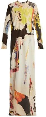 Marques Almeida Marques'almeida - Poster Print Cotton Blend Jersey Maxi Dress - Womens - Multi