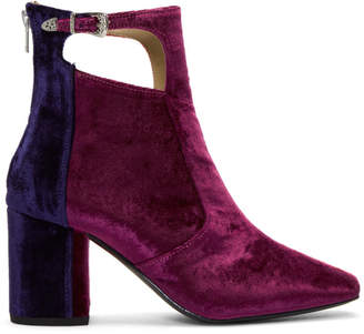 Toga Pulla Tricolor Heeled Velvet Cut-Out Boots