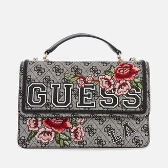 GUESS Women's Vikky Convertible Cross Body Flap Bag - Black Floral