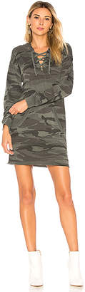 Splendid Camo Lace Up Hoodie Dress