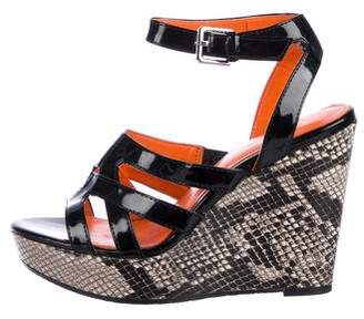 Calvin Klein Collection Patent Leather Wedge Sandals