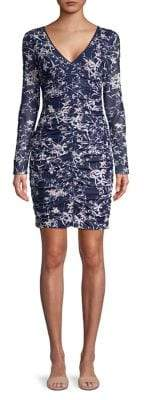 GUESS Ruched Floral Sheath Dress