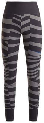 adidas by Stella McCartney Train Miracle Tiger Stripe Print Leggings - Womens - Grey Multi