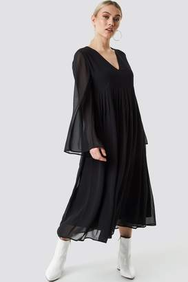 Na Kd Boho Wide Sleeve Flowy Chiffon Dress Black