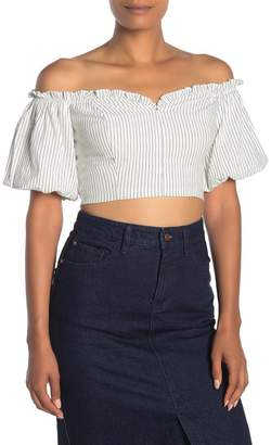 Dress Forum Pinstripe Puff Sleeve Crop Top
