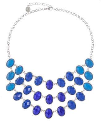 Liz Claiborne Womens Blue Oval Statement Necklace