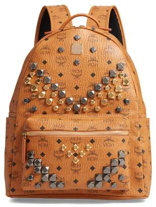 MCM Medium Stark - Visetos Studded Logo Backpack