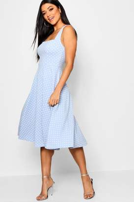 boohoo Polka Dot Square Neck Midi Skater Dress
