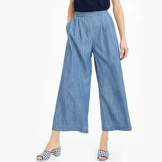J.Crew Petite wide-leg cropped chambray pant