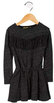 Finger In The Nose Girls' Fringe-Accented Long Sleeve Dress