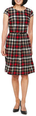 Liz Claiborne Short Sleeve Plaid Fit & Flare Dress