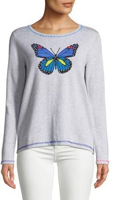 Lisa Todd Butterfly Pullover Sweater w/ Contrast Stitching