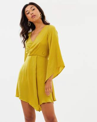 Missguided Satin Plunge Neck Layered Front Long Sleeve Mini Dress