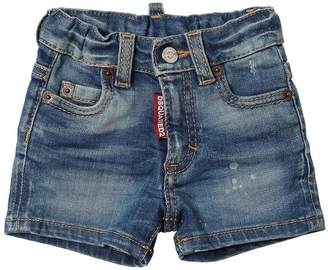 DSQUARED2 Washed Stretch Cotton Denim Shorts