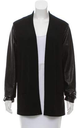 Ralph Lauren Leather-Accented Wool Cardigan