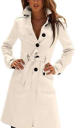 Mupoduvos Women Elegant Single Breasted Belted Tunic Wool Outerwear Coats Trenchcoats XS